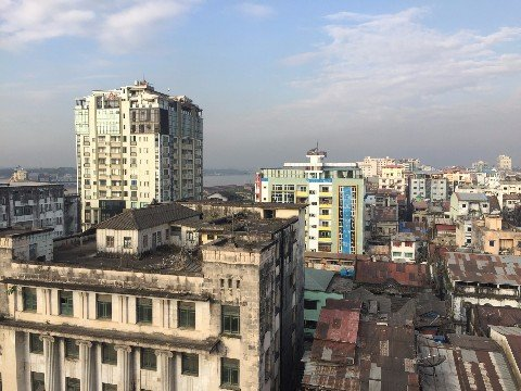 Downtown Yangon has a lot of modern buildings