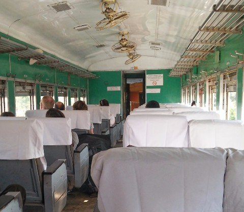 First Class train carriage in Myanmar