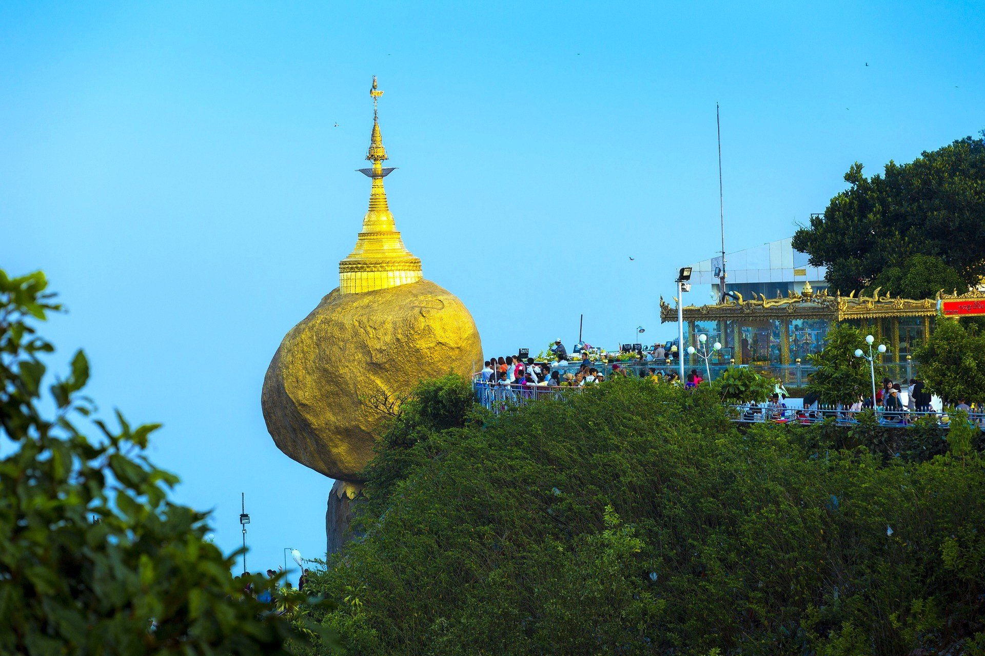 The Golden Rock Pagoda attracts a lot of visitors